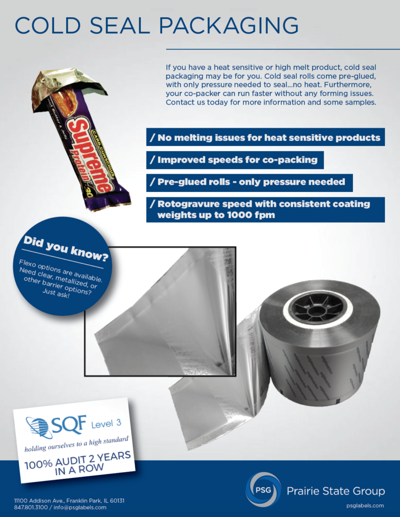 cold seal packaging spec sheet