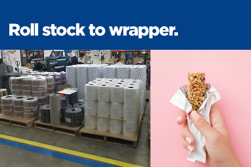 printed roll stock to wrapper